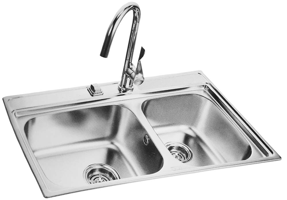 Double Bow Kitchen Sink With Long Neck Tap 850x485mm