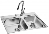 Double Bow Kitchen Sink with Long Neck Tap (850x485mm)