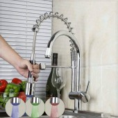 Archy LED Deck Mounted Dual Spout Pull Out Kitchen Sink Mixer Tap